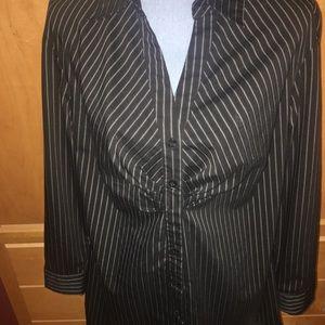 Black N White Pinstriped Blouse XL EUC